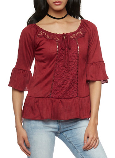 Crinkle Knit Off the Shoulder Peasant Top with Lace Trim,WINE,large