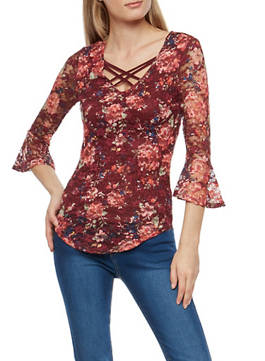 Double Criss Cross Floral Lace Top,WINE/TEA ROSE,large