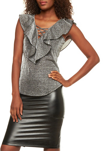Glitter Knit Ruffled Caged Neck Top,GRAPHITE,large