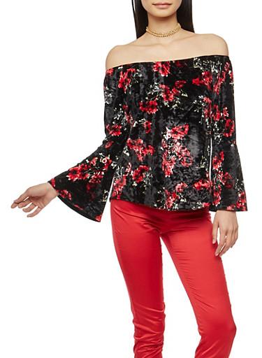 Floral Velvet Off the Shoulder Top with Bell Sleeves,BLACK,large