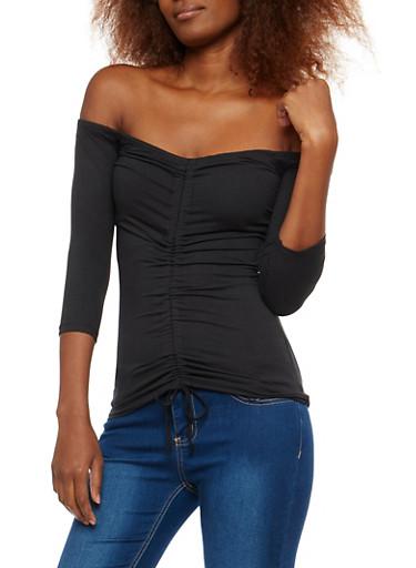 Off the Shoulder Drawstring Front Top,BLACK,large