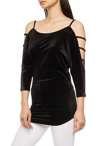 Velvet Caged Sleeve Cold Shoulder Top,BLACK,large