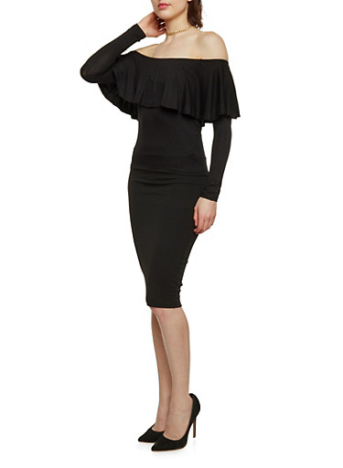 Long Sleeve Ruffled Off the Shoulder Top,BLACK,large