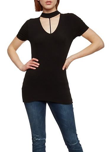 Ribbed Knit Choker Neck Top,BLACK,large