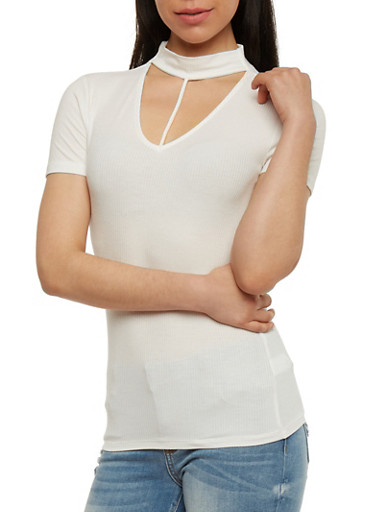 Ribbed Knit Choker Neck Top,OFF WHITE,large