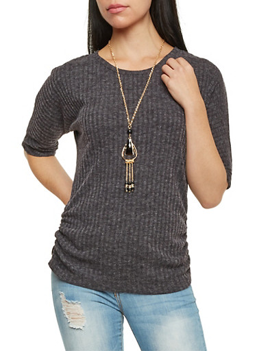 Ribbed Top with Necklace and Ruched Sides,CHARCOAL,large