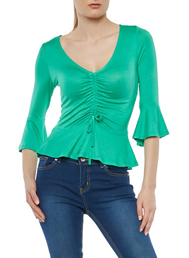 Drawstring Front Bell Sleeve Top,KELLY GREEN,large