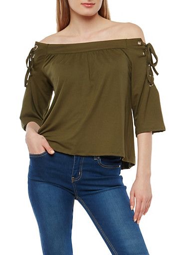 Off the Shoulder Lace Up Sleeve Top,OLIVE,large