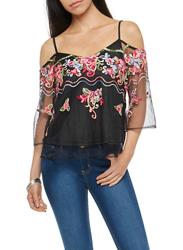 Floral Embroidered Mesh Cold Shoulder Top,BLACK,large