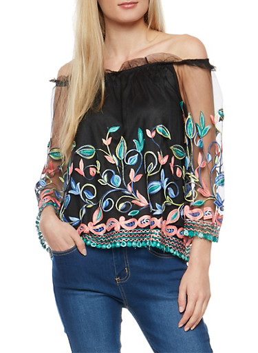 Embroidered Mesh Off the Shoulder Top,BLACK/CORAL/BLUE,large