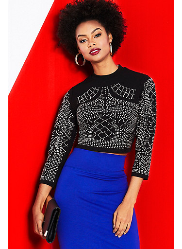 Crop Top with Studded Design and Long Sleeves,BLACK,large