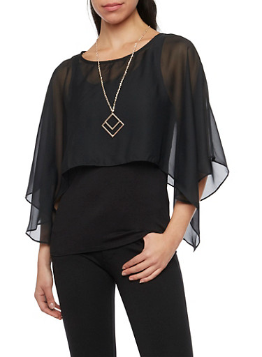 Layered Top with Chiffon Overlay and Removable Necklace,BLACK,large