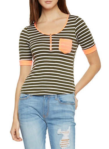 Striped Half Zip Top with Pocket,NEON CORAL/OLIVE,large