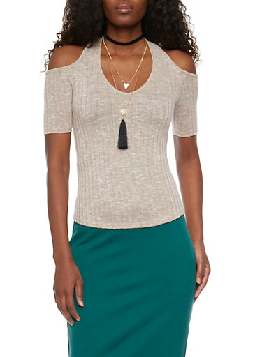 Cold Shoulder Ribbed Top with Layered Choker Necklace,TAUPE,large