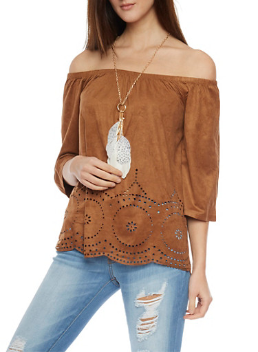 Faux Suede Off the Shoulder Laser Cut Eyelet Top with Necklace,COGNAC,large