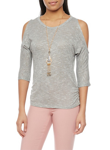 Marled 3/4 SLeeve Cold Shoulder Top with Necklace,GRAY,large