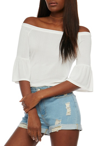 Off the Shoulder Rib Knit Top with Flared Sleeves,IVORY,large