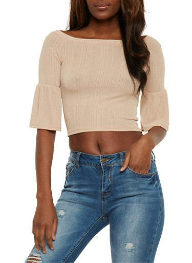 Off the Shoulder Rib Knit Top with Flared Sleeves,NUDE,large
