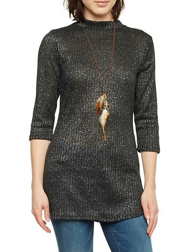 Jeweled Tunic Top in Metallic Knit,BLACK,large