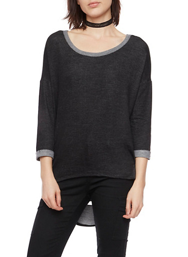 Knit Denim High Low Top with Shredded Back,BLACK,large