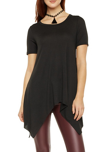 Tunic Top with Asymmetrical Hem and Choker Necklace,BLACK,large