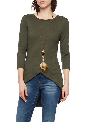 High Low Top with Envelope Hem and Necklace,HUNTER,large