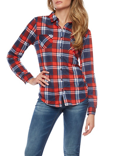 Plaid Button Front Shirt,RED/WHT/NAVY,large