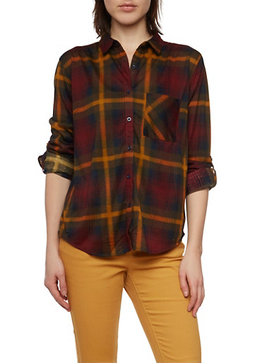 Plaid Button Up Top with Button Cuff Sleeves,BURGUNDY/MUSTARD,large
