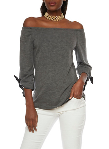 Off the Shoulder Top with Tie Sleeves,CHARCOAL,large