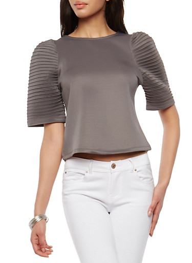 Ponte Pleated Sleeve Top,GRAY,large