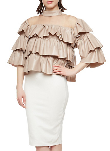Faux Leather Tiered Top,CHAMPAGNE,large
