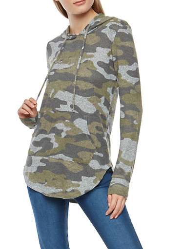 Fleece Knit Camo Hooded Sweatshirt,OLIVE,large