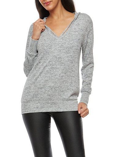 Hooded Caged Neck Sweater,HEATHER,large