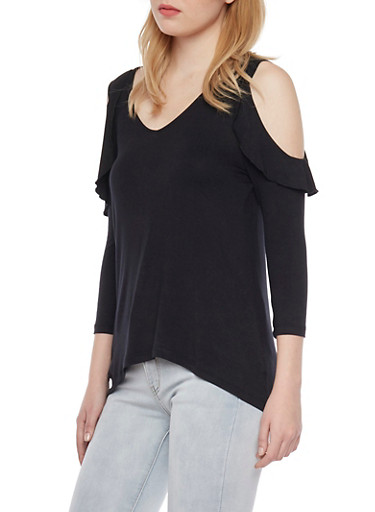 Cold Shoulder Top with Ruffle Trim,BLACK,large