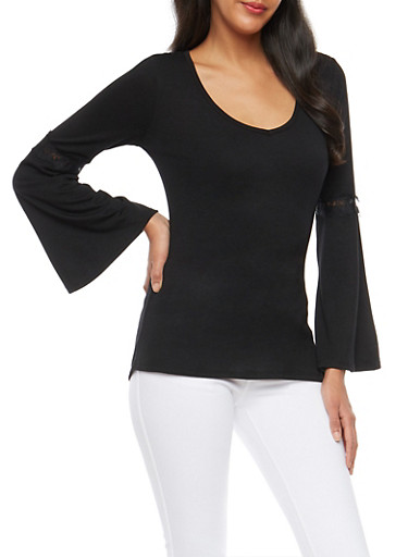 Laced Trim Open Back Top,BLACK,large
