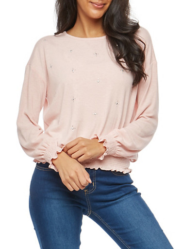 Studded Smocked Trim Top,BLUSH,large