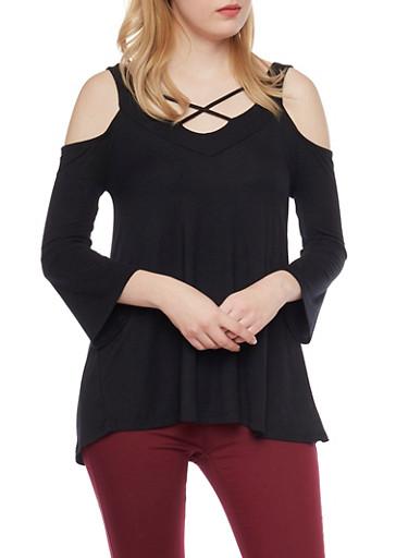 Cold Shoulder Top with Crisscross Straps,BLACK,large