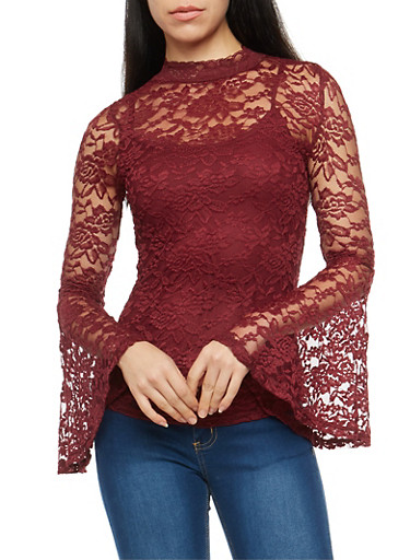Cami Lined Lace Top,CABERNET,large