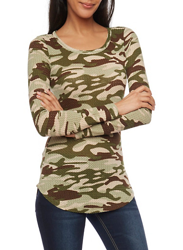 Camo Print Long Sleeve Thermal Top,TAUPE/OLIVE,large
