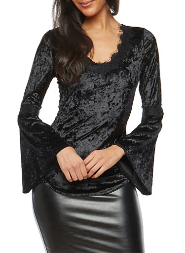 Crushed Velvet Lace Trim Top,BLACK,large