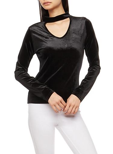 Long Sleeve Velvet Keyhole Top,BLACK,large