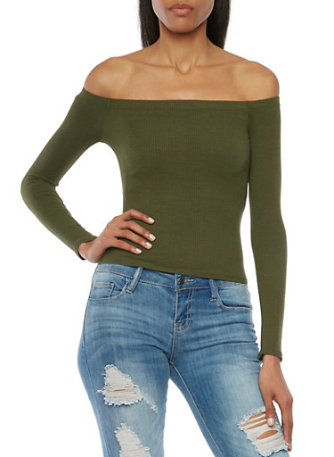 Ribbed Off the Shoulder Top with Long Sleeves,OLIVE,large