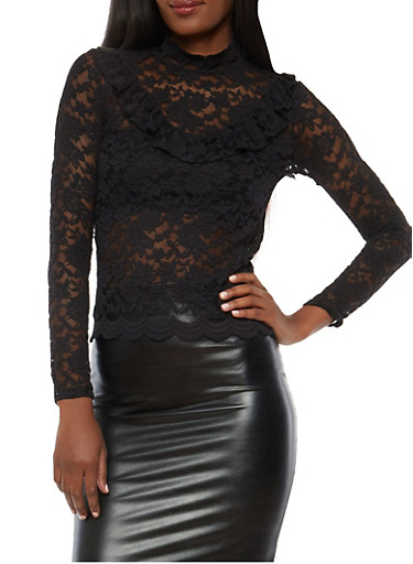 All Over Lace Ruffle Top,BLACK,large