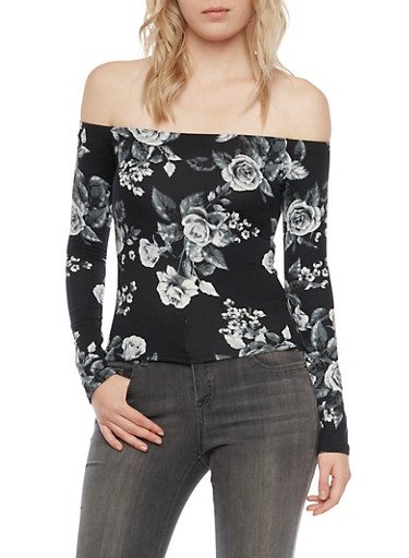 Off the Shoulder Top in Floral Print,BLACK,large