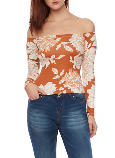 Off The Shoulder Floral Print Top,COPPER,large