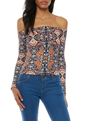 Printed Off the Shoulder Top with Long Sleeves,NAVY,large