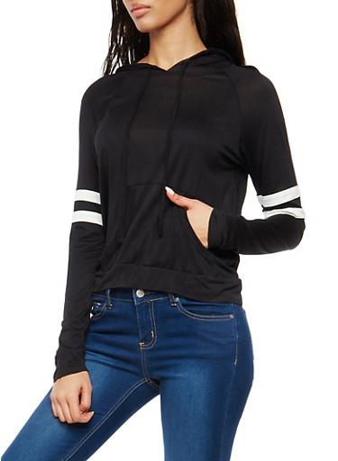 Hooded Sweatshirt with Striped Sleeve Detail,BLACK,large