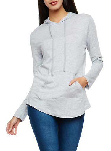 Long Sleeve Hooded Sweatshirt,HEATHER,large