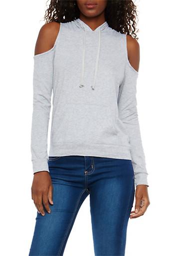 Cold Shoulder Hooded Sweatshirt,HEATHER,large