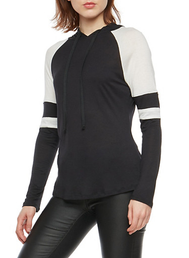 Color Block Hooded Long Sleeve Top,BLACK/WHT,large